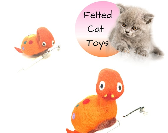 Dinosaur Cat Toy - Large Dinosaur Wool Toy - Needle Felted Cat Toy - Orange Spotted Wool Sculpture - Cat Lover Gift - Hand Felted Cat Toy