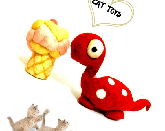 Soft Serve Cat Toy - Red Dinosaur Wool Sculpture - Cat Lover Gifts - Felted Cat Toys - Cat Relocation Gifts - Hand Felted Wool Cat Play Toys