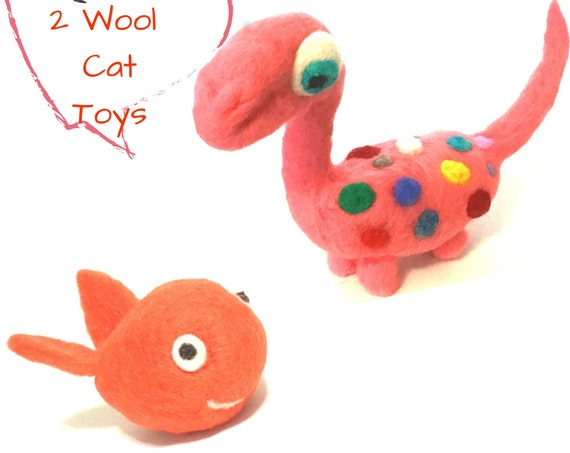 Orange Wool Cat Toys - Dinosaur and Fish Wool Sculptures - Cat Lover Gifts - Cat Relocation Gifts - Hand Felted Wool Cat Play Toys