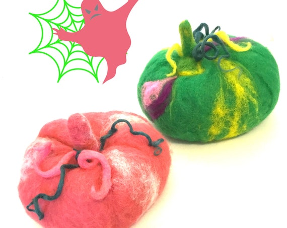 Large Pink and Green Wool Pumpkins - Stunning Halloween Table Decor - Housewarming Gifts - Hand Felted Wool Fantasy Pumpkins - Hostess Gift