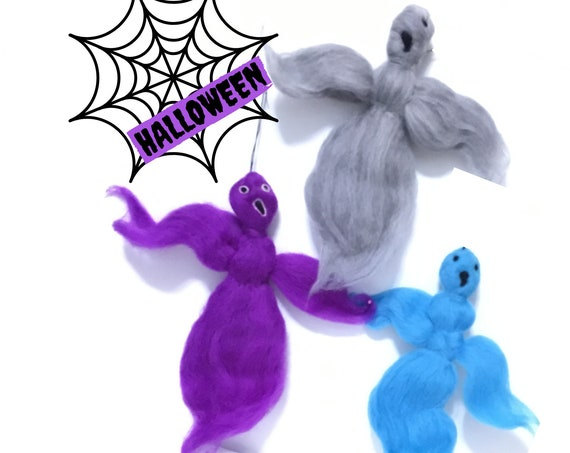 Halloween Decor - Scary Fun Gifts - 3 Hanging Ghosts - Doorknob Ghost Set - Indoor Plant Ghosts - Party Gifts - Felted Wool Sculptures