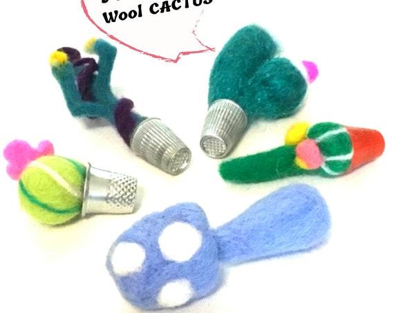 Needle Felted Cactus - 5 Miniature Wool Sculptures - Hostess Gift - Terrarium Artificial Plants - Fairy Garden or Dollhouse Decorations
