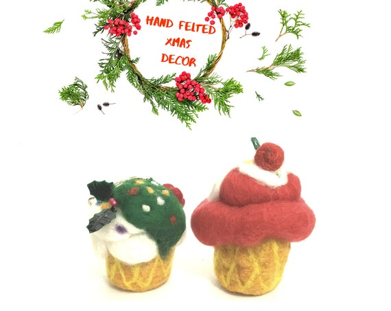 Felted Xmas Cup Cakes - Red Wool Decoration - 2 Unique Wool Sculptures - Great Hostess Gift - Designer Xmas Tree Decor - Top Friendship Gift