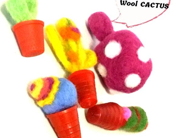 Miniature Wool Sculptures - 5 Hand Felted Cactus - Wool Plant - Housewarming Gift - Needle Felted Hostess Gift - Terrarium Mini Decorations