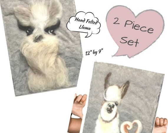 Llama Wool Paintings - 3D Merino Wool Pictures - Housewarming Gift - Needle Felted Art - 2 Unframed Fibre Art Paintings - Original Art Gift