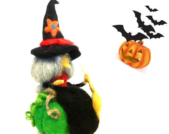 Halloween Decor - Black Witch sitting on a Green Pumpkin - Hostess Gift - Table Ornament - Felt Witch with Broomstick - Friendship Gift
