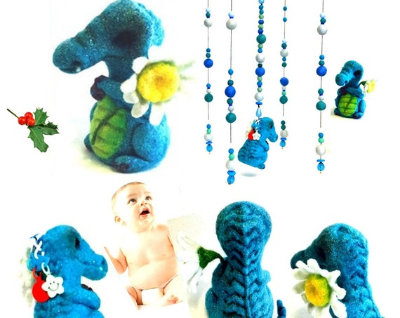 Felt Ball Mobile - Baby Boy Mobile - New Mum Gift - Felted Alligator with Daisy Cot Mobile - Baby Shower Gift - Unique Beaded Baby Mobile