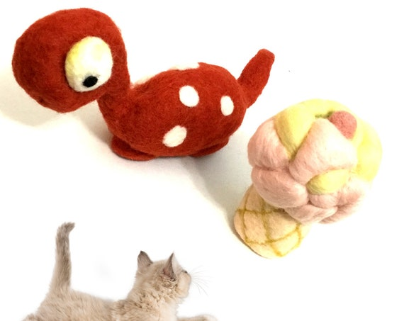 Red Dinosaur Cat Toy - Ice Cream Cat Toy - 2 Hand Felted Wool Cat Toys - Relocation Cat Toy Gifts - Catnip and Interior Rattle Cat Play Toys