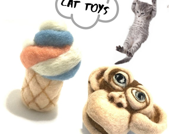 Monkey Cat Toy - Ice Cream Cat Toy - Housewarming Gift - 2 Wool Sculptures - Unique Cat Toy Gift  - Felted Wool Cat Toy -  Cat lovers Gift