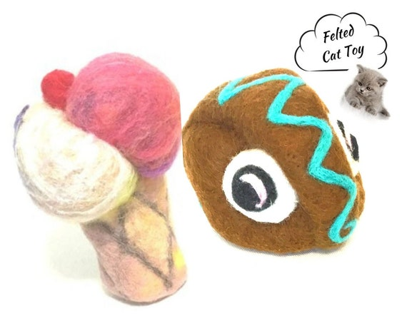 Soft Serve Cat Toy - Great Mate Play Toy - Cat Relocation Gift - Cat Lover Gift - Felted Wool Cat Toy - Felted Wool Toy -  Friendship Gift