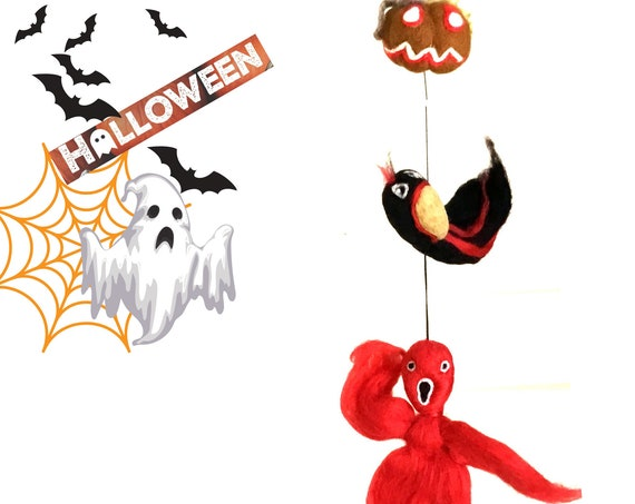 Hanging Felt Pumpkin Crow and Ghost - Halloween Fun Gifts - Hand Felted Scary Gift - Friendship Gift - Hostess Party Gift - Party Atmosphere