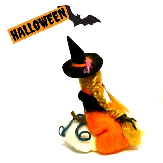 Halloween Decor - Orange Witch on a White Pumpkin - Hostess Party Gift - Table Ornament - Felt Witch with Broomstick - Friendship Gift