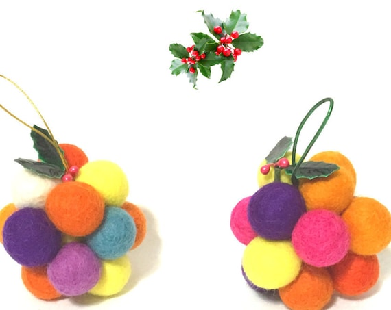 2 Christmas Tree Hanging Decorations - Colourful Xmas Ball Ornaments - Friendship Gift - Hanging Felt Ball Decor - Hostess Appreciation Gift