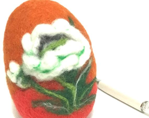 Easter Egg - White Poppy Easter Egg - Felt Egg Table Decor - Cherished Gift - Collectors Item - Unique Felted Gift - Australian Wandarrah