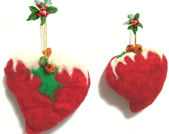 Large Xmas Hearts  - Red Snow Heart - 2 Felted Wool Sculptures - Friendship Gift - Unique Xmas Gift - Great Hostess Gift - Xmas Decor Design