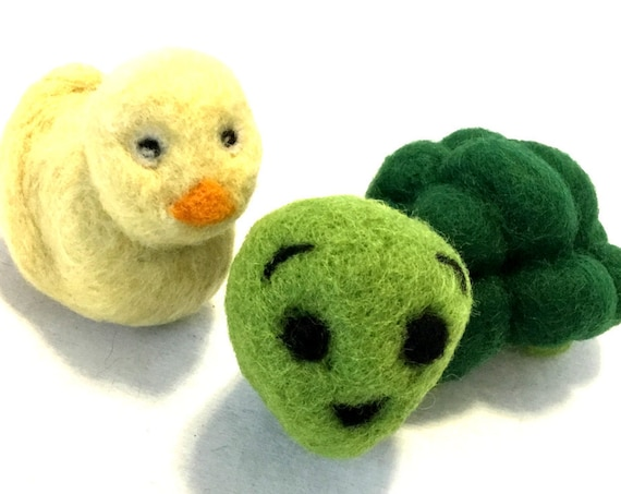Hand Felted Cat Toys - Green Snail Cat Toy - Yellow Duck Cat Toy - Felted Cat Toys - Catnip and Rattle Duck - Catnip Free Turtle