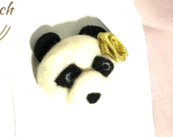Hand Felted Panda Brooch - Teddy Bear Brooch - Mothers Day Gift - Felted Cat Brooches - Unique Needle Felted Brooch - One of a Kind Original