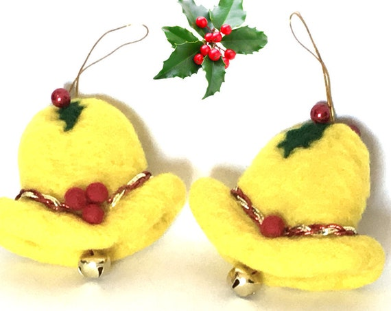 Hand Felted Xmas Bells - New House Welcome Gift - Yellow Tree Hanging Decor - Friendship Gift - 2 Unique Xmas Gifts - Great Hostess Gifts