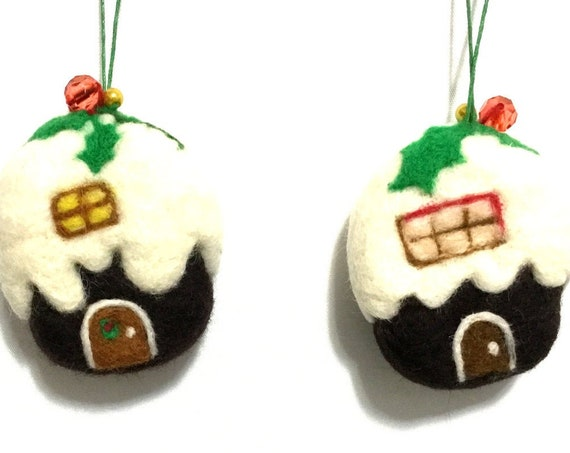 Needle Felted Xmas Cottages - Hand Felted Wool sculptures - Great Hostess Gift - Unique Xmas Gifts - Friendship Gift - Designer Xmas Decor