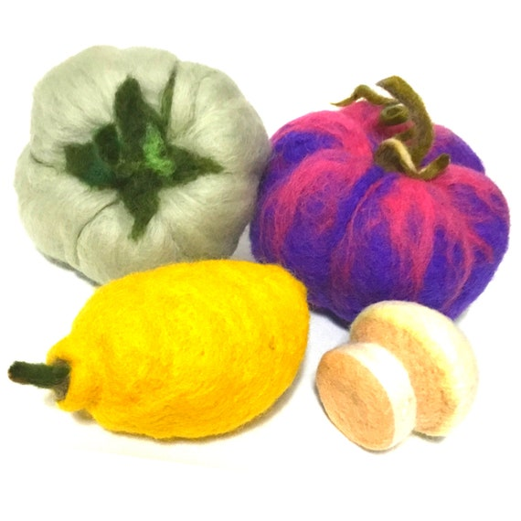 Felted Wool Sculptures - Table Centrepiece - Pumpkin - Green Tomato, Lemon  and  Mushroom - Table Decor - Friendship Gift - Hostess Gift