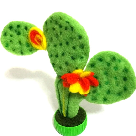Prickly Pear Cactus - Felted Plant - Cactus Plant Felted - Wool Sculptures - Handmade Plant - Plant Lover Gift - Australian Wanderrah
