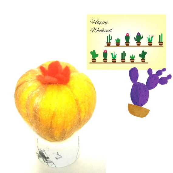 Hand Felted Cactus - Gold Felted Indoor Plant - Artificial Plant - Friendship Gift - Ceramic Potted Cactus - Appreciation Gift