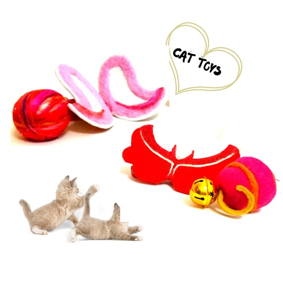 Red Devil Cat Collar - Pink Angel Cat Collar - Relocation Cat Gifts - Felted Wool Cat Toys - Cat Throw Balls - Cat Play Toys -