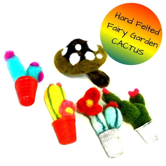 Miniature Felted Cactus for Terrariums - Stunning Wool Cactus for a Fairy Garden - Needle Felted Hostess Gift - Cute Doll House Miniatures