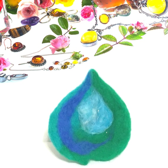Teardrop Shaped Felt Bead - Large Teardrop for Bespoke Designs - Needle Felted Wool Pendant - Stunning Decor for Bespoke Jewellery