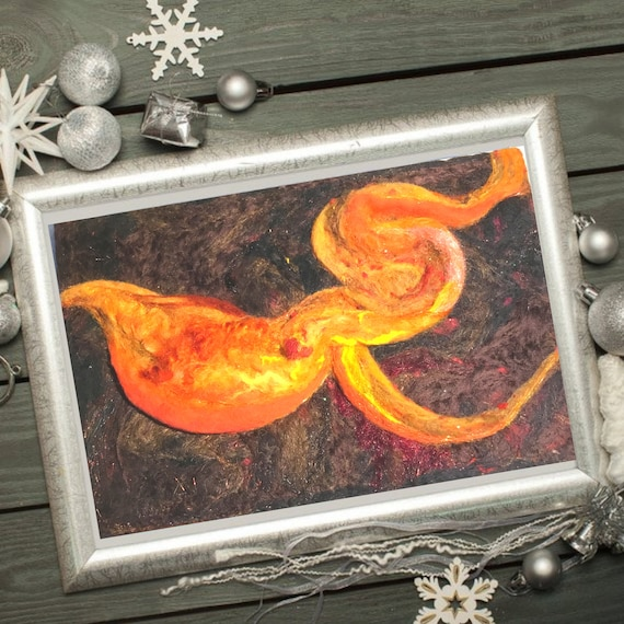 Abstract 3D Wool Painting - Orange Needle Felted Art - Hand Felted Picture - Felted Wall Art - Gold Painting - Art Lover Gift - Any Way Art