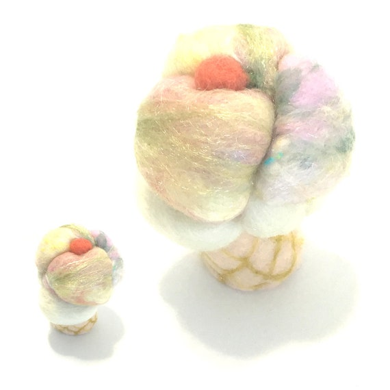 Soft Serve Cat Toy -  Felted Pink Ice Cream Cat Toy - Catnip Cat Toy -  Merino Wool Cat Toy - Needle Felted Cat Stuff - Cat lovers Gift