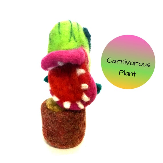 Carnivorous Felted Plant - Insect Eating Plant - Friendship Gift - Needle Felted Plant - Artificial Plant - Indoor Plant Lover Gift