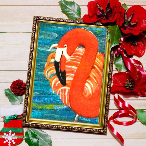 Flamingo Wool Painting - Stunning Wall Decor - Hand Felted Wall Art - Needle Felted Wool Picture - Mothers Day Gift - Art Lover Gift