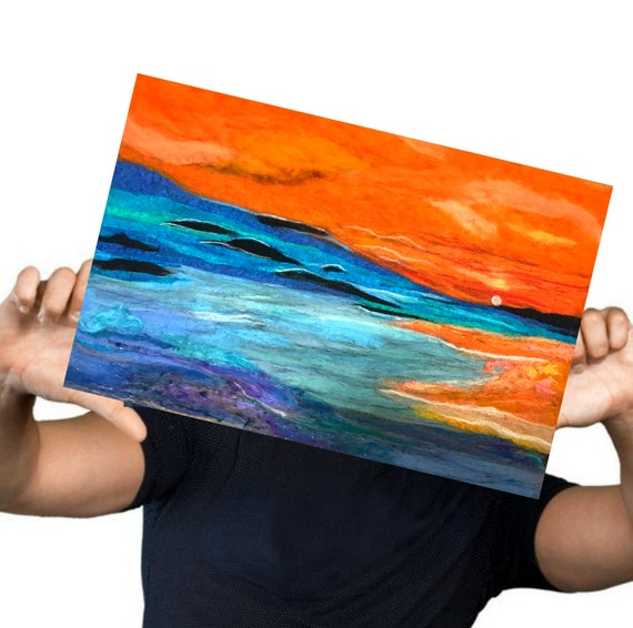 Seascape Wool Painting - Blue Felt Picture - Felted Fibre Art - Needle Felted Art - Unframed Fibre Art Painting - Hand Felted Art
