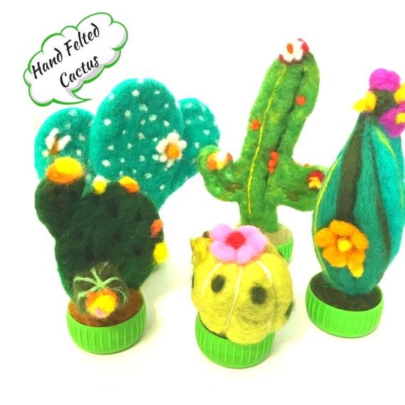 Cactus - 5 Felt Cactus - Felted Plants - Needle Felted Cacti - Wool Sculptures - Felt Cacti Plants - Plant Lover Gift - Australian Wanderrah
