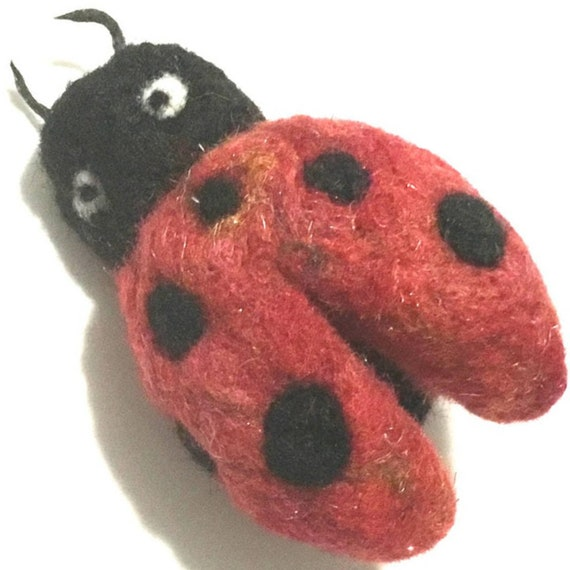 Red Lady Bug Wool Sculpture - Felted Lady Bug Sculpture - Good-Luck Gift - Felted Jacket Pin - Versatile Pendant - Needle Felted Beetle Gift