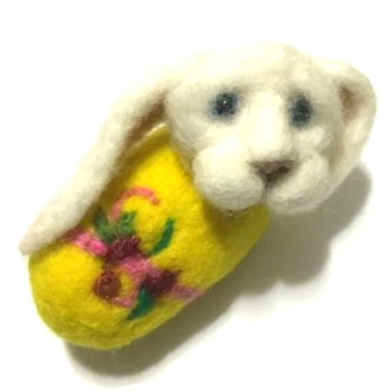 Unique Easter Wool Sculpture -  Yellow Needle Felted Bunny - Wool Sculpture - Collectors Wool Item - Collectors Easter Gift