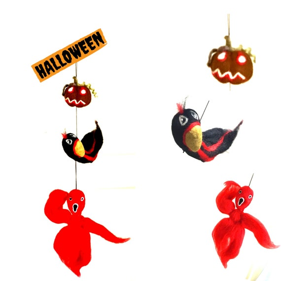 Hanging Felt Pumpkin Crow and Ghost - Halloween Fun Gifts - Hand Felted Scary Gifts - Friendship Gift - Hostess Party Gift - Party Gifts