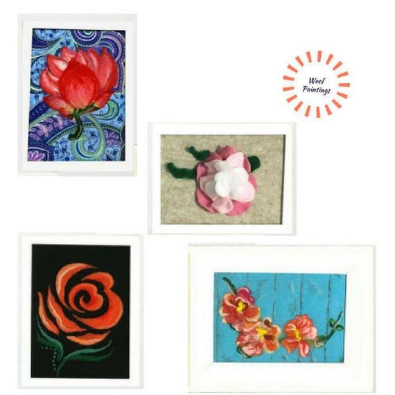Original Art - Original Paintings - Mothers Day Gift - Needle Felted Art - 4 White Framed Pictures - Original Wool Art - Original Fibre Art