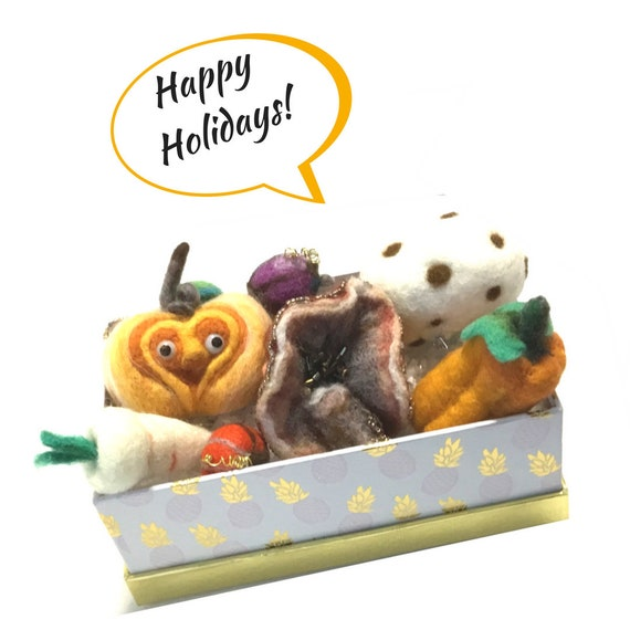 Felt Centrepiece - Wool Sculptured Vegetables - Festive Table Decor- Housewarming Gift - Needle Felted Items - Hand Felted Xmas Gift