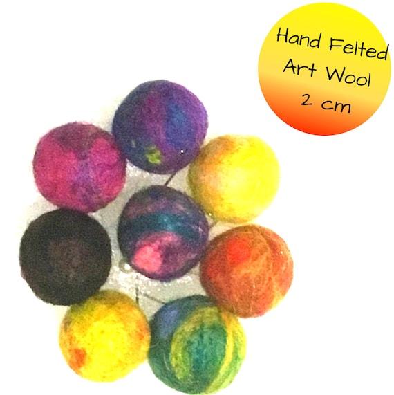 Hand Felted Wool Balls - Special Art Wool Balls for Bespoke Designs - Felt Balls for Craft Supplies - One of a Kind Craft Supplies