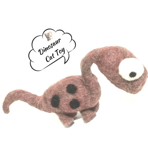 Dinosaur Cat Toy - Dinosaur Wool Toy - Needle Felted Cat Toy - Brown Wool Sculpture - Cat Lover Gift - Hand Felted Cat Toy