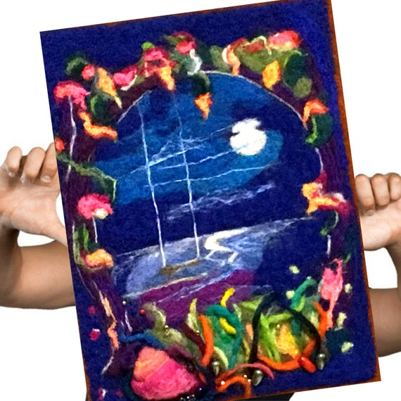 Midnight Blue Fibre Art Picture -  Moonlit Garden Wool Painting - Needle Felted Original Art - Unframed 3D Picture - Unique Beaded Art Gift