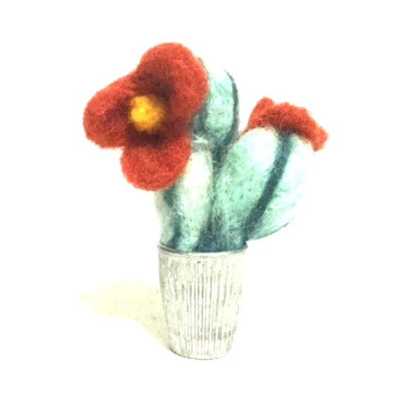 Miniature Wool Cactus - Housewarming Gift -  Tiny Wool Cactus - Needle Felted Sculpture - Tiny Dolls House Decoration - Friendship Gift