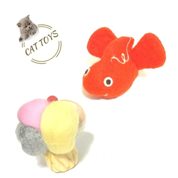 Ice Cream Cat Toy - Orange Fish Cat Toy - Cat Lovers Gifts - Felted Wool Cat Toys - Cat Throw Toys- Cat Play Toys - Needle Felted Cat Toys