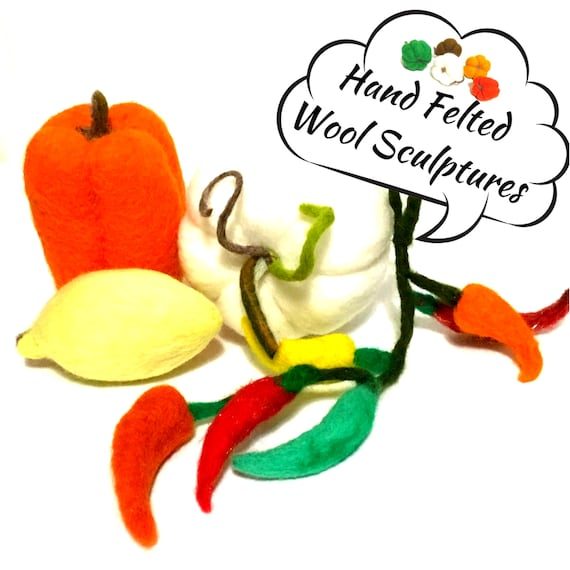 Felted White Pumpkin, Capsicum, Lemon and Chillies - Table Decor - Friendship Gift - Housewarming Gift - Wool Sculptures - Hostess Gift