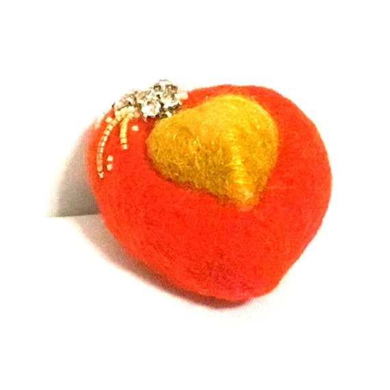 Red Heart Brooch - Mothers Day Gift - Handmade Beaded Brooch - Girlfriend Gift - Gold Red Heart Brooch - Felted Wool Brooch - Heart Brooch