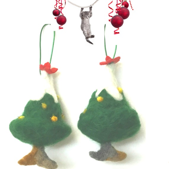 Felted Miniature Xmas Trees - Unique Wool Tree Decorations - Friendship Gift - Unique Xmas Gifts - Wool Sculptures - Great Hostess Gift