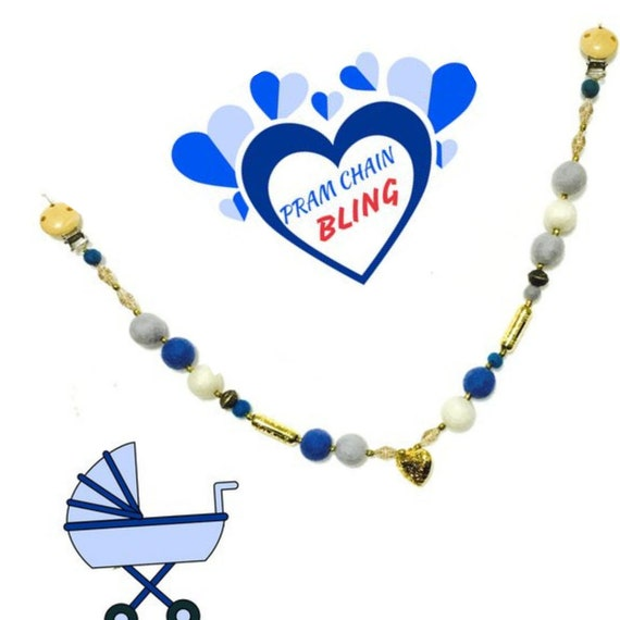Baby Stroller Chain - Gold Heart Pram Mobile - Baby Boy Gift - Beaded Stroller Chain - Sweet Baby Shower Gift