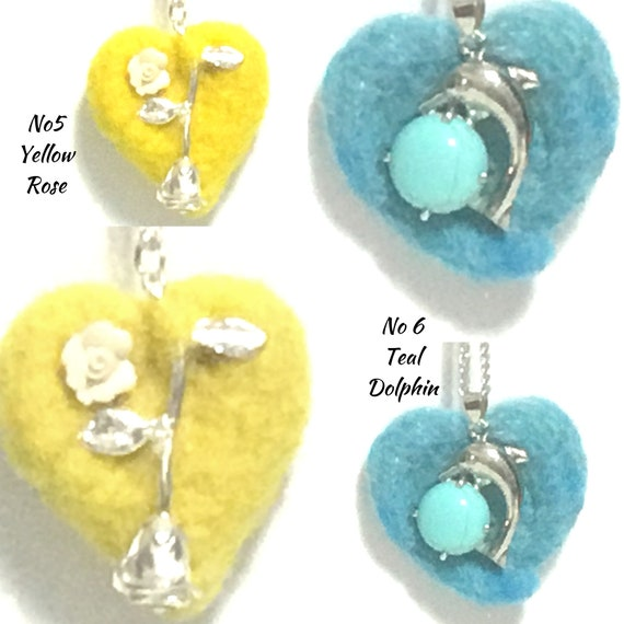 Hand Felted Pendants - Dolphin Heart Pendants - Cubic Zirconia Heart - Girlfriend Gift - Felt Pendant - Sweetheart Gift - Mothers Day Gift